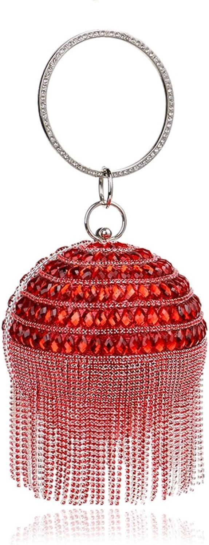 Sixminyo Frauen Elegante Handtasche Runde Ball Ball Ball Quaste Abend Clutch Handtasche Tasche (Farbe   rot) B07P4CK291  Adoptieren 86851e