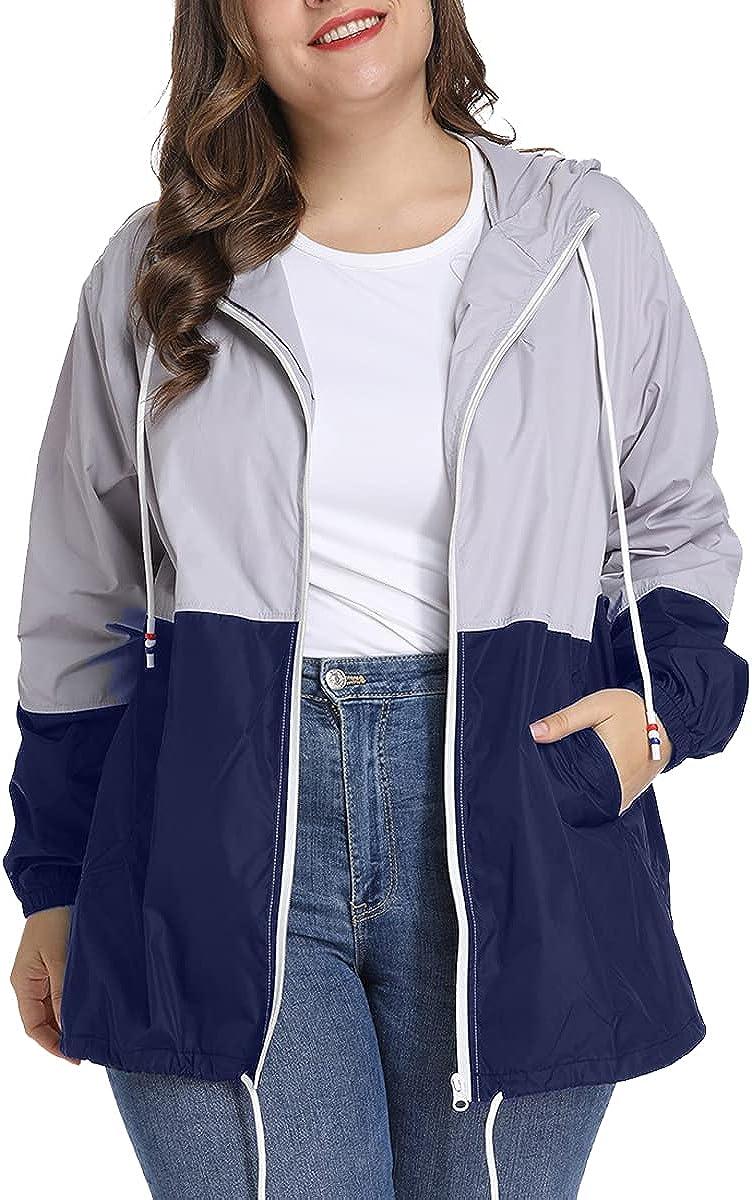 TULGRVE Women's Plus Size Rain Jacket Lightweight Rain Coat Outdoor Hooded Windbreaker