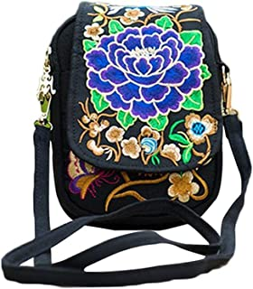 LITTLE TREE-AU Women Rose Embroidered Crossbody Bags Mini Vintage Bags Fashion Embroidery One Shoulder Bags (Purple)
