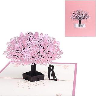 桜のグリーティングカード 3D立体 記念日カード ポップアップ誕生日カード バレンタインデー カップルと桜の木 結婚祝い 感謝状 可愛い手紙 プレゼント 封筒付き