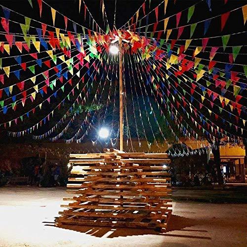 EDATOFLY 240M Bruant Bannière Fanion Bannière Multicolore Fanions avec 450Pcs Drapeaux de Triangle Nylon Drapeaux pour Festivités Grand Opening Parties et Backyard Picnics