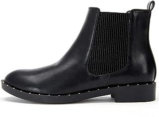 1eee0078c7d2b ANJOUFEMME Chaussure Bottines Chelsea en Cuir Femmes - Ankle Boots Femme  avec Talon Plat Bloc Bas