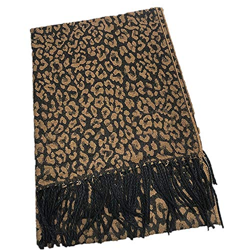 Bufanda de leopardo de moda estilo coreano otoño cálido mujeres bufanda de niñas gruesa imitación cachemira cálido chal babero turbante