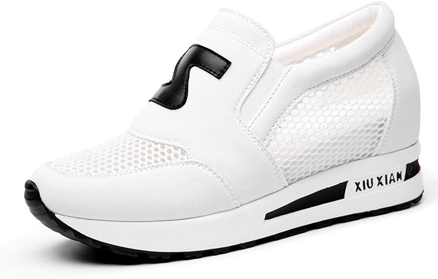 Sandals Sneakers Black White Mesh Increased Within Lady Spring (color   White, Size   EU39 UK6.0 CN39)