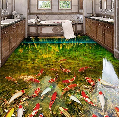 Hwhz Murales De Suelo 3D Autoadhesivos A Prueba De Agua Personalizados Lago Agua Carpas Baño Dormitorio Suelo Pegatina Pvc Vinilo Papel Tapiz Decoración Del Hogar-280X200Cm