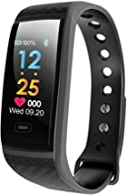 Fitness Tracker Smart Watch Wristband Color LCD Fitness Blood Pressure Heart Rate Pedometer Tracker Bluetooth Sport Bracelet (Black) …