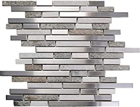 Interlocking Stainless Steel White Stone Mix Mosaic Tile (5-Sheets) Kitchen, Bathroom, and Patio Flooring | Indoor and Out...