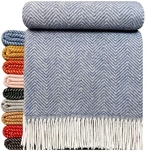 STTS International Wohndecke Wolldecke Decke sehr weiches Plaid Kuscheldecke 140 x 200 cm Wolle Milano/Verona Blau-Grau (1)