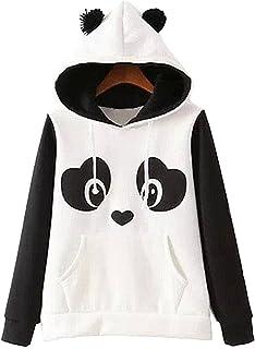 GGTFA Mujeres Otoño Invierno Panda Patrón Suave De Manga Larga Sudaderas con Capucha De La Sudadera Pullover Prendas De Ab...