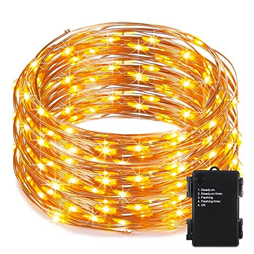 RcStarry(TM){240LED 80Ft}Battery String Lights,Battery Operated 240 LED String Lights on 80Ft Long Copper Wire,Waterproof for Indoor&Outdoor Use with Timer(Warm White)
