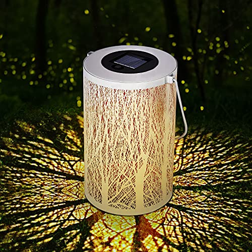 Sooair Solar Laterne für Außen, Solar Garten Hängende Laterne Wasserdicht IP44 Solarlampe Zylinderförmige Nachtlicht für Garten, Terrasse, Gehweg, Weihnachten LED Solar Laterne für draußen