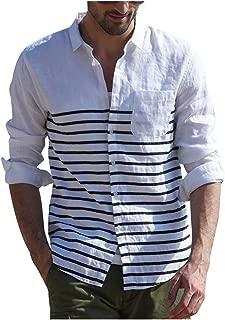 Men's Stripe Button Tops Summer Button Linen Solid Long Sleeve Vintage Shirts Blouse