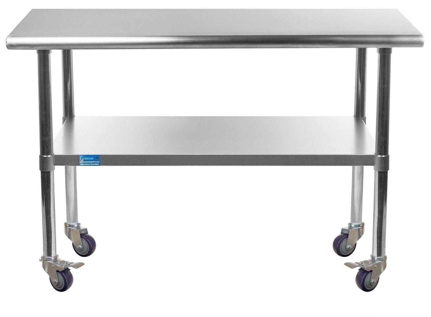 AmGood Stainless Steel Work Station Table Limited time sale Casters with Popular