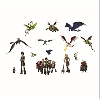 padom 70 X 50cm 3D Removable Cartoon Style How to Train Your Dragon Carton Wall Sticker Room Decorative Plastic Wall Deca