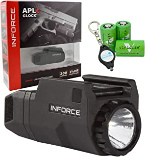 InForce APLc Glock Weapon Mounted Light 200 Lumens (For Glock) Bundle with 3 CR2 Viridian Batteries and a Lumintrail Keychain Light