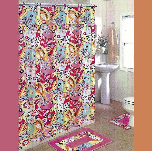 pink groovy and funky shower curtain with floral design
