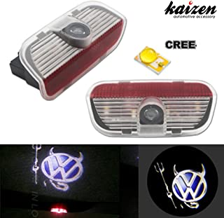 Kaizen 2 Pcs OEM Fit Super Bright LED Laser Ghost Shadow CREE Door Step Courtesy Welcome Light Lamps For VW Golf GTi EOS CC Polo Jetta Passat CAN-bus No Error Typr Evil