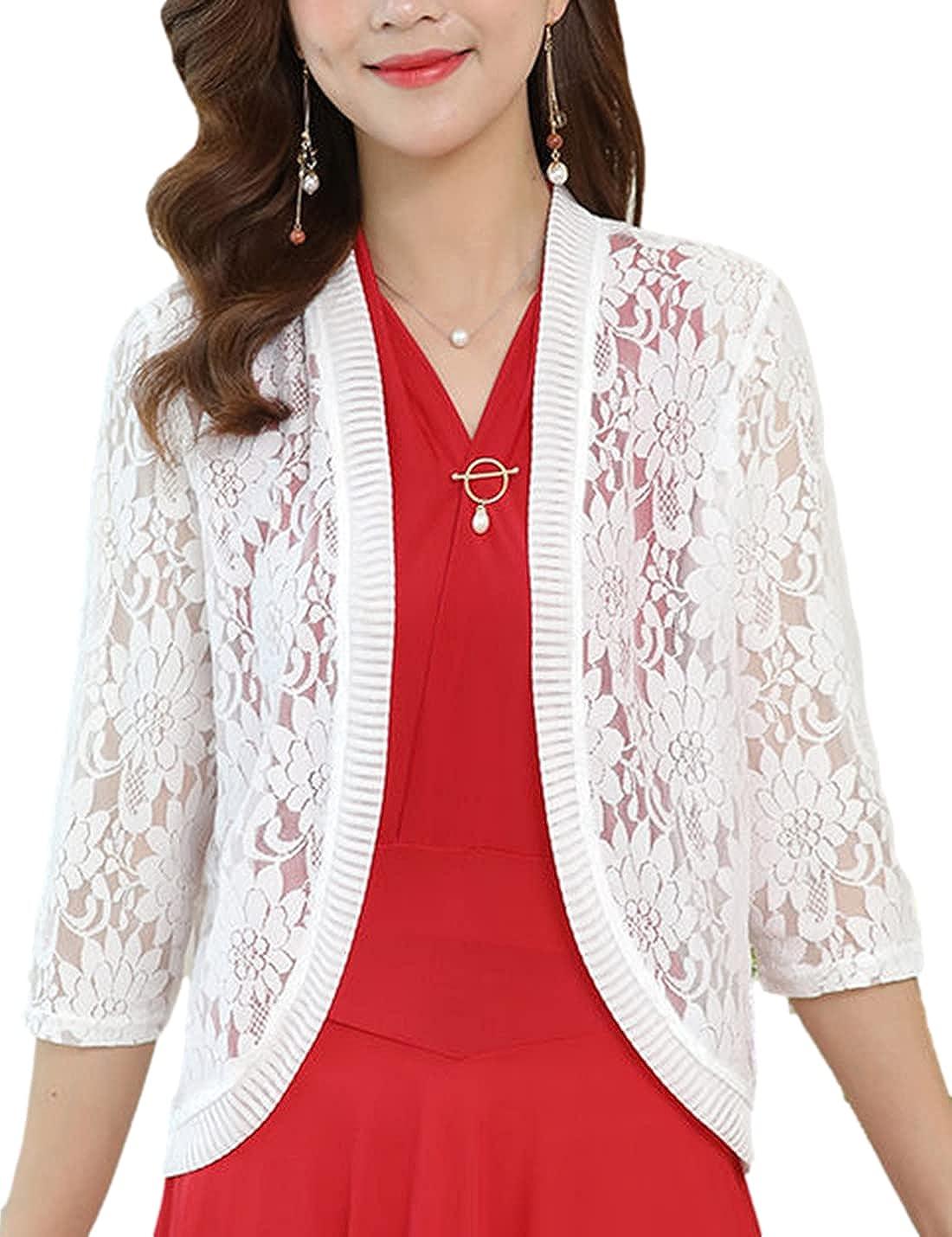 SeekMe Women's Floral Lace Open Front Bolero Cardigan 3/4 Sleeves Sheer Crop Shrugs