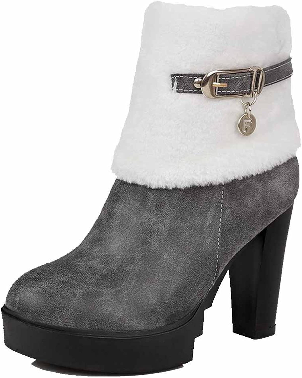 AllhqFashion Women's High-Heels Soft Material Low-top Solid Chains Boots