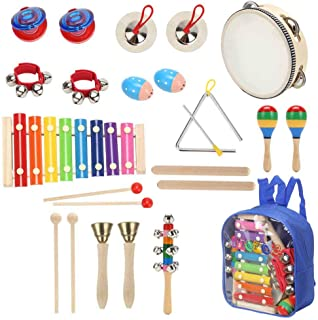Sokoni Toy Wooden Kids Percussion Educational Musical Instrument Set for Children Preschool Toddlers with Xylophone Triangle Tambourine for Kids - Storage Backpack and Activity eBook BONUS (BLUE)
