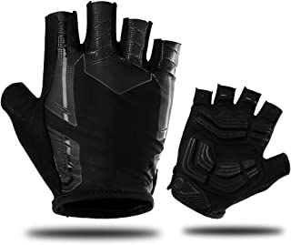 Cycling Gloves, Mountain Bike Gloves with 3MM SBR Shock-Absorbing Pad, Anti Slip Breathable Fingerless Design for Men Women Biking Riding Driving Sports Motorcycle Outdoors Exercise, 3 Sizes