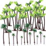 24 Stück Mini Palme Kokosnuss Kunststoff Miniatur Micro Landschaft für Puppenhaus Mini Strand deko...