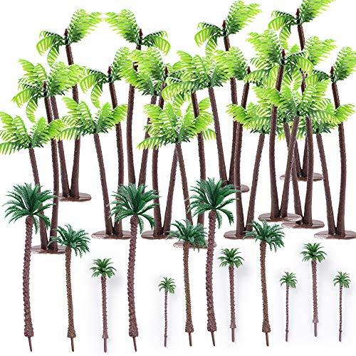 24 Stück Mini Palme Kokosnuss Kunststoff Miniatur Micro Landschaft für Puppenhaus Mini Strand deko Handwerk und DIY