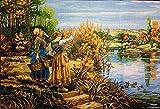 Set de bordado de tapicería'mujer junto al río' Juego de bordado de media cruz de 35x50cm.Incluye hilo de algodón multicapa cod.630