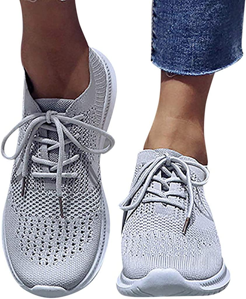 SSYUNO Women's Mesh Sneakers Ladies Casual Knitted Breathable Lace-Up Sneakers Running Comfortable Sports Shoes