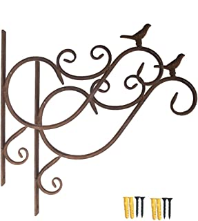 Fasmov Retro Iron Plant Hanging Hooks Wall Brackets for Planter Bird Feeder Lanterns Wind Chimes Plant Pot Basket with Screw, Pack of 2