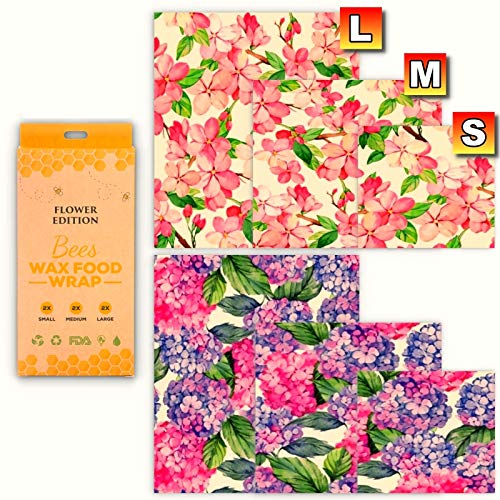 Beeswax Food Wraps, Pack of 6 Cherry blossomes and Hydrangea Printed Beeswax Wraps in 3 Sizes, All-Natural and Reusable Food Wraps, Eco-Friendly, Sustainable, Fresh Design Beeswax Wrappings.