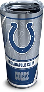 Tervis 1266046 NFL Indianapolis Colts Edge Stainless Steel Tumbler with Clear and Black Hammer Lid 20oz, Silver