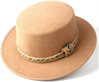 WUNONG-AU Men's and Women's Flat Top Cap Fedora Ms. Fascinator Casual Wild Style British Style Top Hat Gentleman Daddy Church Hat (Color : Khaki, Size : 56-58)