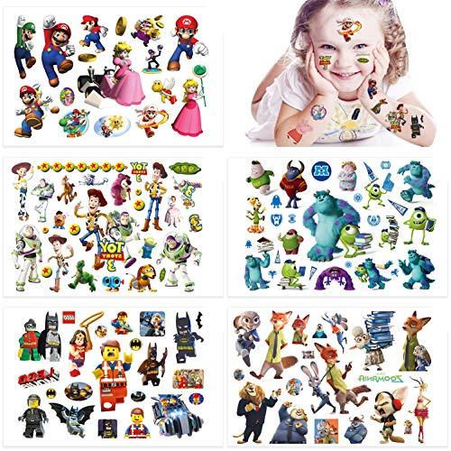 Qemsele Tatuaggi temporanei per Bambini, 10 Sheet 200+ Pcs Unicorno Tatuaggi Finti temporanei Adesivi per bambini Ragazzi festa di compleanno sacchetti regalo Giocattolo (Mario)