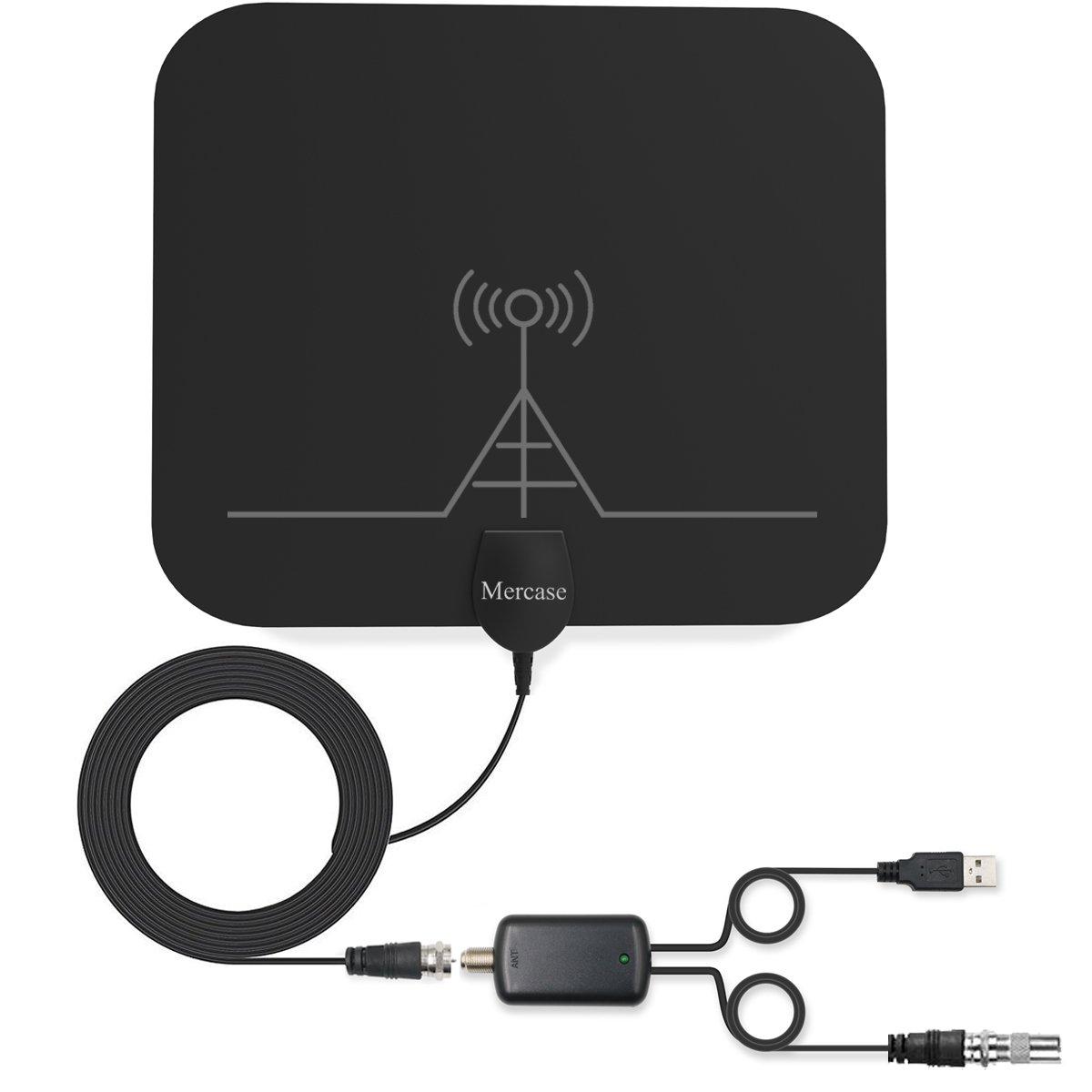 Antena de TV, Mercase Antena Interior HDTV Digital [Rango de 60 Millas/95 KM con Amplificador de Señal Avanzado, Cable Coaxial de 13,5 Pies] Poderosa Antena (Negro): Amazon.es: Electrónica