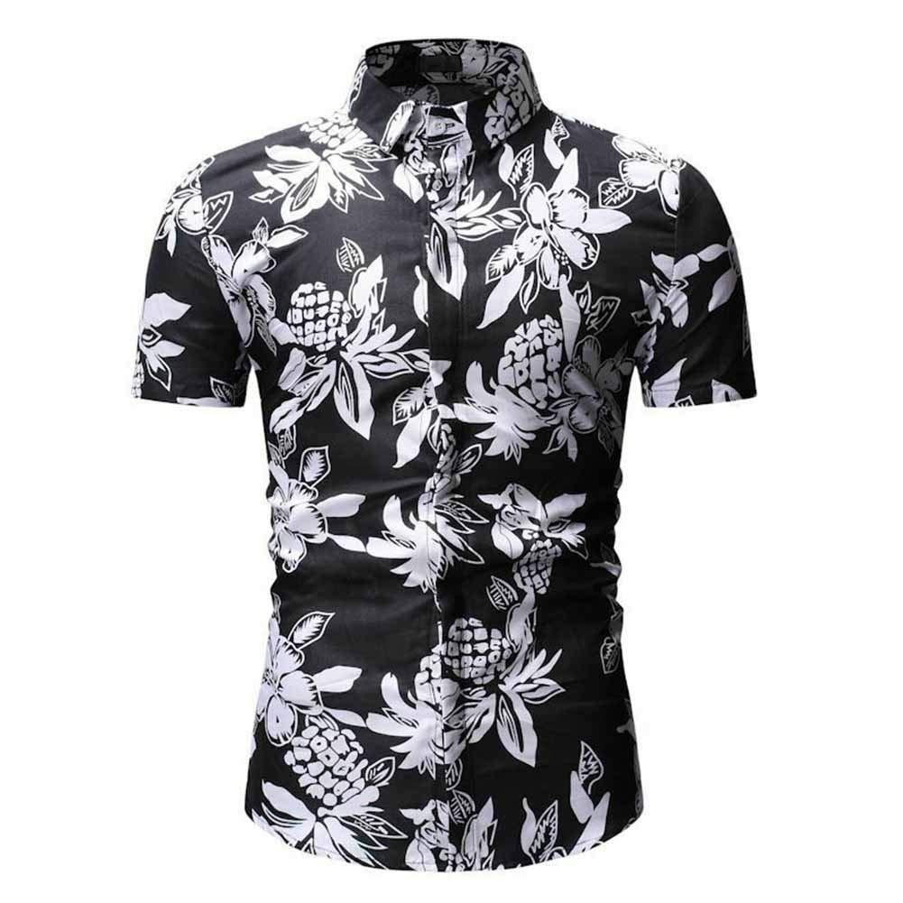 Weentop Camisa Hawaiana de Manga Corta con Botones de Flores for Hombres (Color : Negro, tamaño : XL): Amazon.es: Hogar