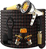 TBI Pro Garden Hose Expandable - Superior Strength 3750D / 4-Layers Latex/Extra-Strong Brass Connectors / 10-Way Durable Zinc Water Spray Nozzle, 2-Way Pocket Flexible Splitter (50 Feet)