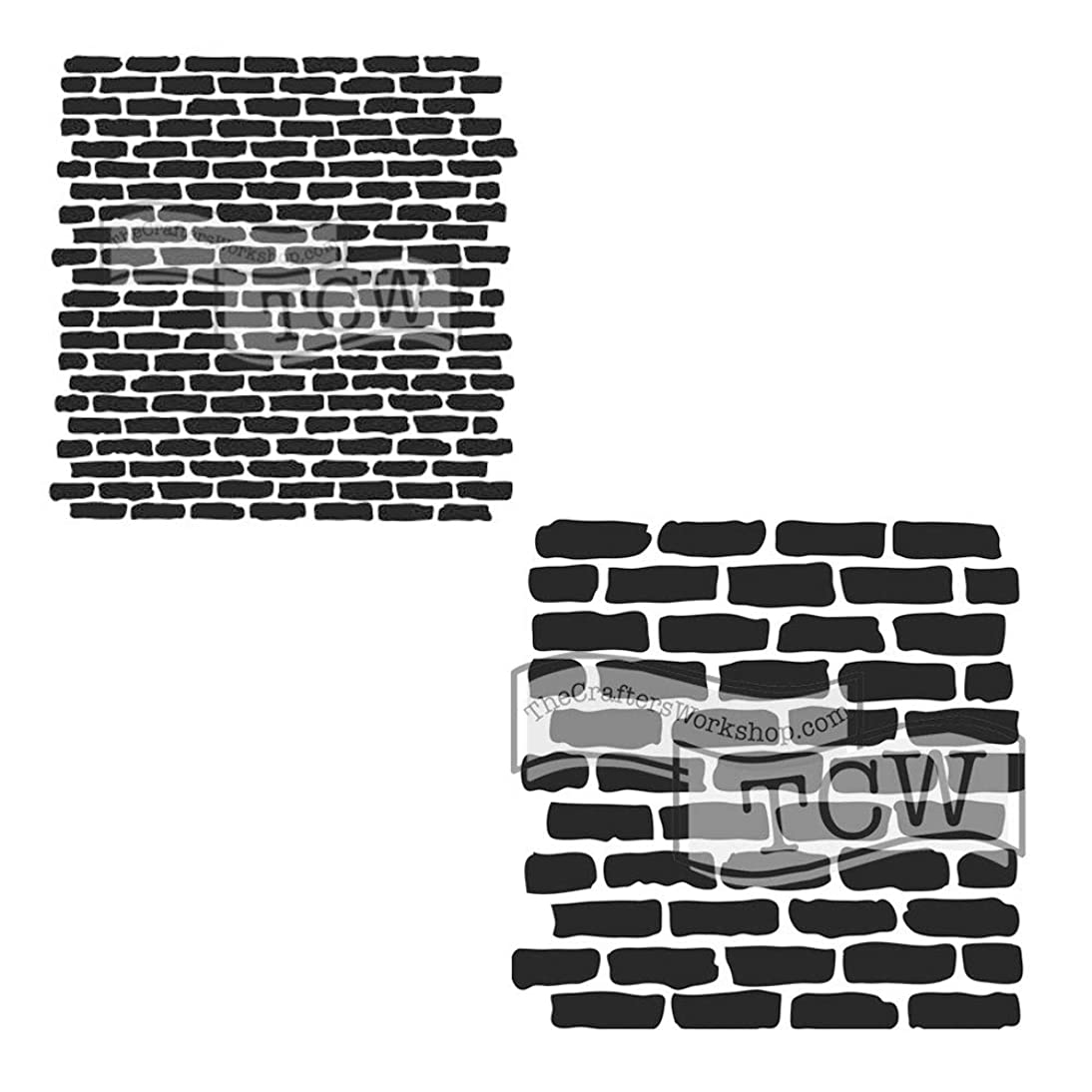 Crafter's Workshop Stencil 2 Pack, Reusable Stenciling Templates for Art Journaling, Mixed Media, and Scrapbooking, TCW790 Micro Bricks & TCW191 Stencil Bricks