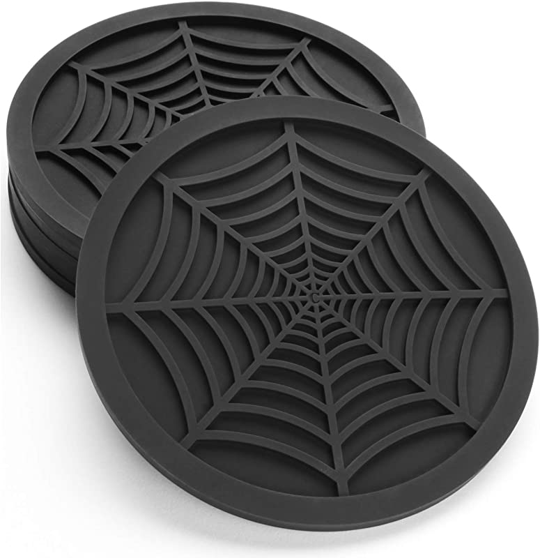 Silicone Coasters For Drinks 6 Pack Unique Design Spider Drink Coasters 4 Black Coaster Set By COASTERFIELD