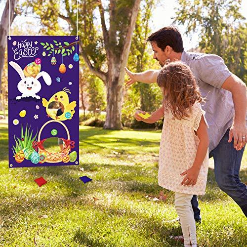 MEZOOM Juegos de Lanzamiento de Pascua Toss Games Banner Pancarta de Conejo con 3 piezas Bolsas de Frijoles Jugete de Jardines para Fiesta de Pascua Niños Adultos