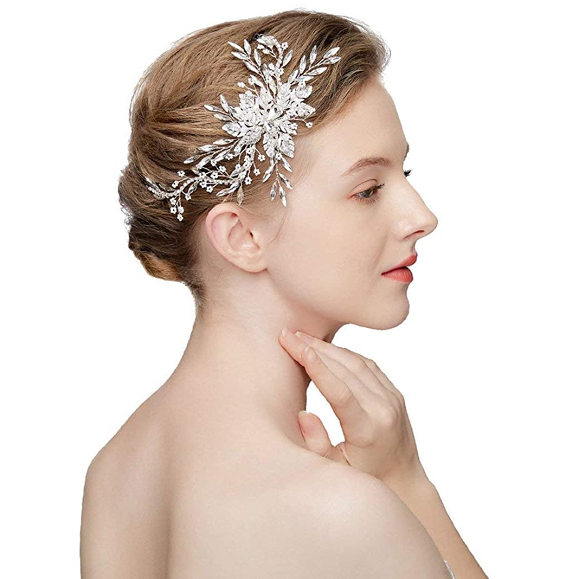 飲み込むスタイル振る舞うラインストーンの櫛、ブライダルヘアの櫛手作りクリスタルラインストーンウェディングヘアアクセサリーパールフラワータッセルヘッドドレスウェディング、パーティー