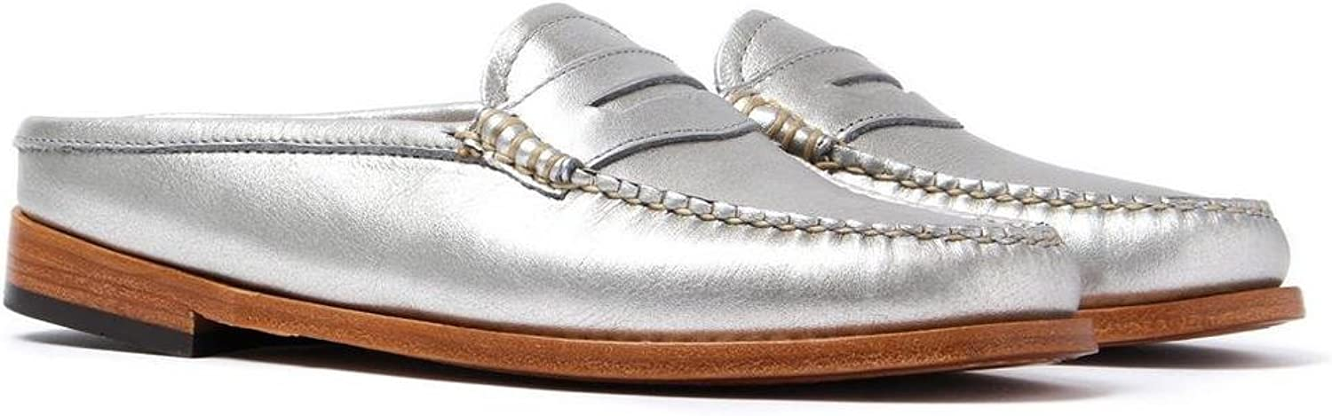 G.H. Bass Weejuns Penny Slide Wheel Silver Textured Leather
