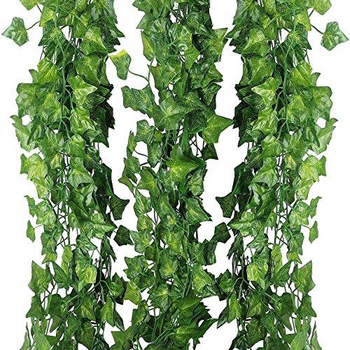 Enredadera de hiedra artificial de seda para colgar en interiores y exteriores, 24 m - 12 guirnaldas