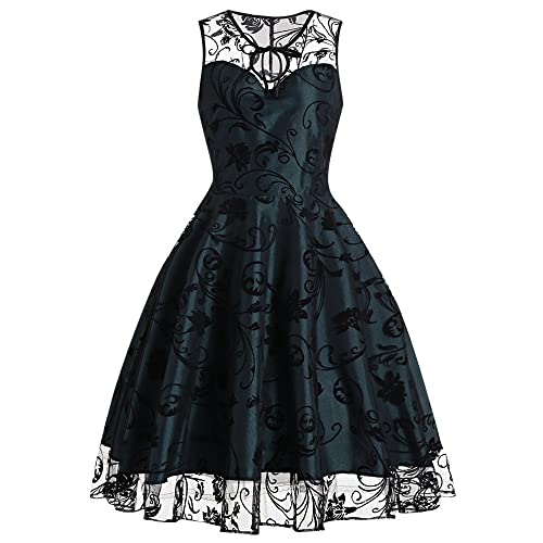 DressLily Vintage Floral Tulle Midi Sleeveless Women Dress