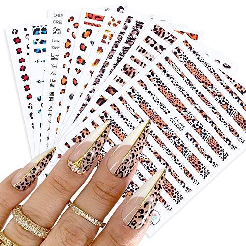 BLOUR 1 Stück Beliebte Leopard 3D Slider Für Nail Art Dekorationen Niedliche Animal Print Aufkleber Aufkleber Polnische Maniküre Tattoo Tipps BECA401-409