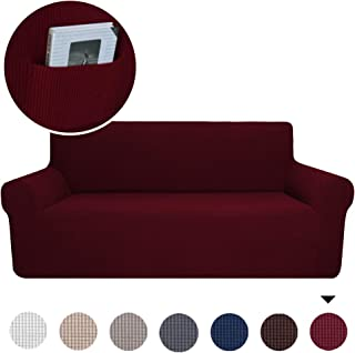 Marchtex Sofa Slip Cover for Leather Couch Covers for 3 Cushion Couch Lounge Cover Kids Sofa Covers Stretch Sofa Cover Set Furniture Covers for Moving, Couch Sofa Slipcover, Burgundy Red