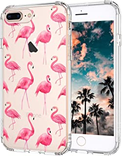 iPhone 8 Plus Case, iPhone 7 Plus Case, MOSNOVO Cute Flamingo Tropical Clear Design Printed Plastic Back Case with TPU Bumper Protective Case Cover for iPhone 7 Plus/iPhone 8 Plus