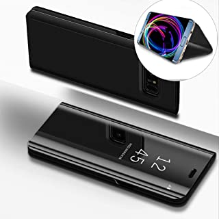DasKAn Electroplate Mirror Flip Case for Galaxy S7 Edge, Smart Clear View Window Plating Hard PC Phone Cover Slim Folio Hybrid Kickstand Full Body Protective Case for Samsung Galaxy S7 Edge,Black