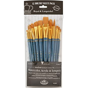 Royal Brush Manufacturing Royal and Langnickel Zip N' Close 12-Piece Brush Set, Medium Gold Taklon