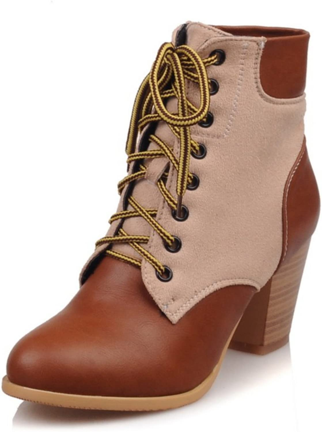 AIWEIYi Ladies Military Boots Round toe Square Heel Lace up Platform Ankle Boots Brown